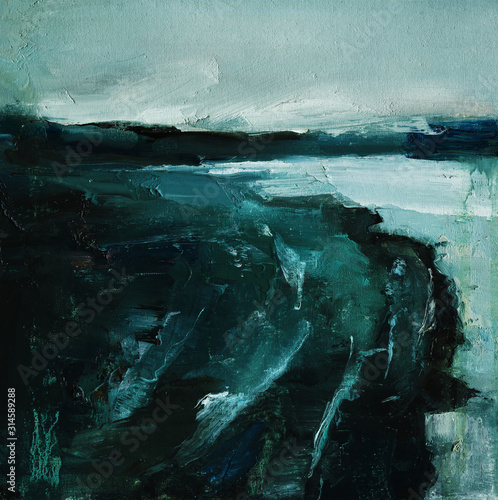 Abyss, ocean waves, seascape hand drawn oil illustration Canvas Print