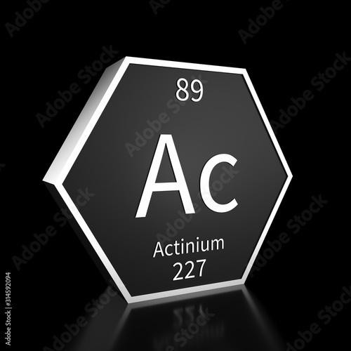 Periodic Table Element Actinium Rendered Metal on Black on Black Canvas Print