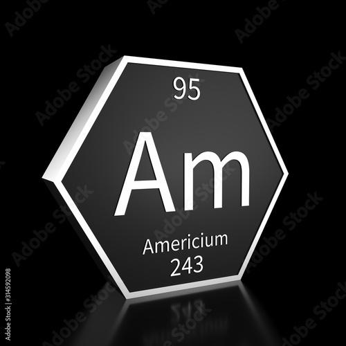 Periodic Table Element Americium Rendered Metal on Black on Black Wallpaper Mural
