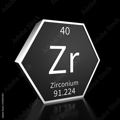 Periodic Table Element Zirconium Rendered Metal on Black on Black Tablou Canvas