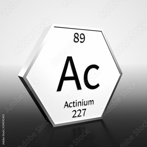 Photo Periodic Table Element Actinium Rendered Black on White on White and Black