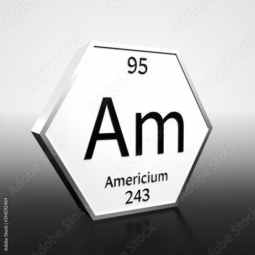 Periodic Table Element Americium Rendered Black on White on White and Black Canvas Print