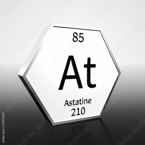 Periodic Table Element Astatine Rendered Black on White on White and Black Canvas Print