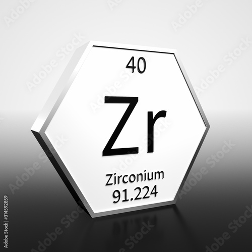 Fotografia, Obraz Periodic Table Element Zirconium Rendered Black on White on White and Black