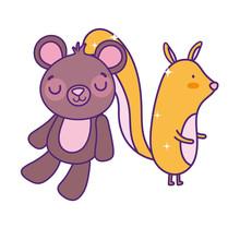 Cute Little Squirrel And Teddy Bear Cartoon
