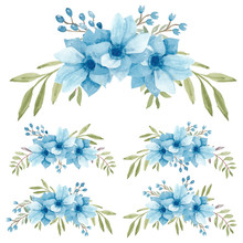 Watercolor Hand Painted Blue A...