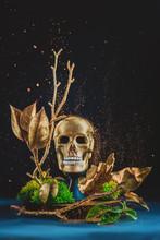 Golden Skull Sculpture With Moss And Glitter, Memento Mori Concept