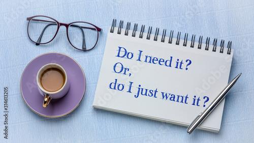 Obraz na plátně Do I need or want it?