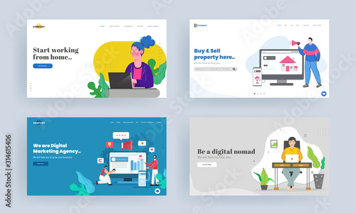 Set of Landing page design for Start working from home, Buy & Sell property, Be a digital nomad, Digital marketing agency concept Wallpaper Mural