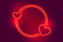 Neon Red Two Heart Frame With ...