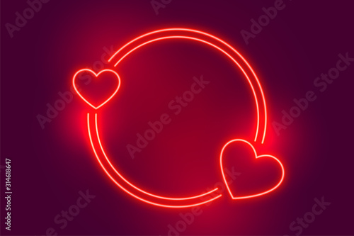 neon red two heart frame with text space Tableau sur Toile