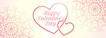 Happy Valentines Day Hearts Banner With Mandala Decoration