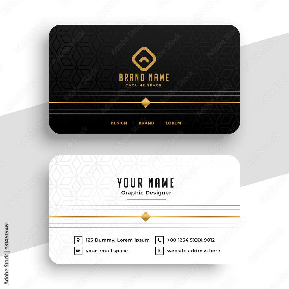 Fototapeta clean black white and golden business card design