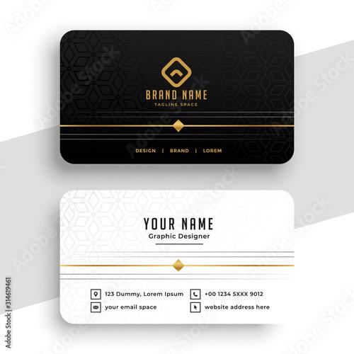 Obraz clean black white and golden business card design - fototapety do salonu