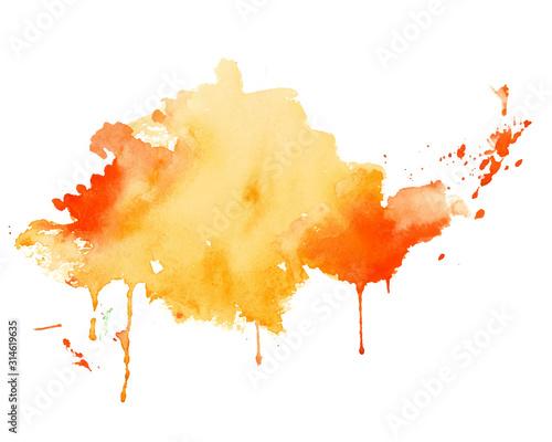 Obraz yellow and orange watercolor splash texture background - fototapety do salonu