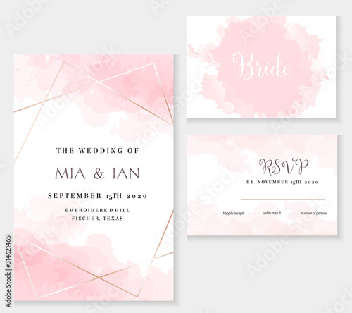 Stylish dusty pink and gold geometric vector design cards. Fototapete