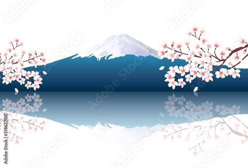 Obraz na plátně 富士山 桜 風景 背景