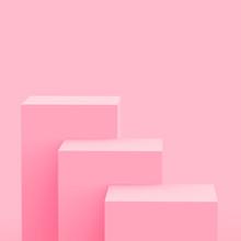 3d Pink Cube And Box Podium Mi...
