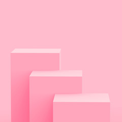 3d pink cube and box podium minimal scene studio background. Abstract 3d geometric shape object illustration render. Display for cosmetic fashion and valentine product.