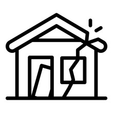 Destroyed House Icon. Outline Destroyed House Vector Icon For Web Design Isolated On White Background