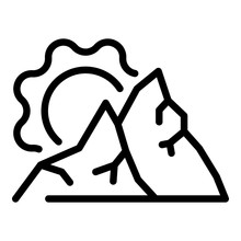 Sunny Mountains Icon. Outline ...