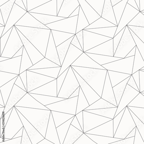 Geometric vector pattern, repeating asymmetry linear triangle shape or polygon triangle Wallpaper Mural