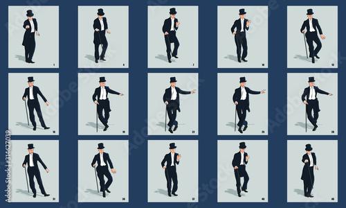 Fotografie, Obraz Gentleman Dancing animation sprite sheet vector illustration