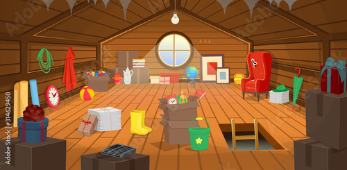 Fotografie, Obraz The wooden attic interior with boxes, an armchair, a window, dishes, books, paintings, clothes, paper, an umbrella and gifts