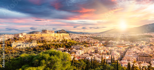Panoramic View over Athens by Sunrise Canvas Print