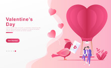 Vector Illustration. Happy Couple Sitting On A Blimp Enjoying Valentine, A Bird Carrying An Envelope Of Love Messages, Ballons Love And Plants. Concept Landing Page, Frame, Website. Flat Cartoon Style