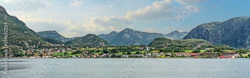 Fototapeta Mountain rural landscape village view, Lysefjord, Norway obraz