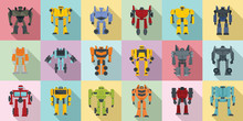 Robot-transformer Icons Set. F...