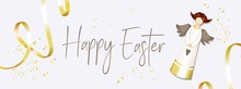 Easter Banner. Horizontal Poster, Postcard, Website Headers, Background With Text Happy Easter. Angel On A Light Background. Elegant Design With Realistic Objects.