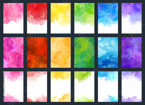 Obraz Big set of bright vector colorful watercolor background for poster, brochure, card or flyer - fototapety do salonu