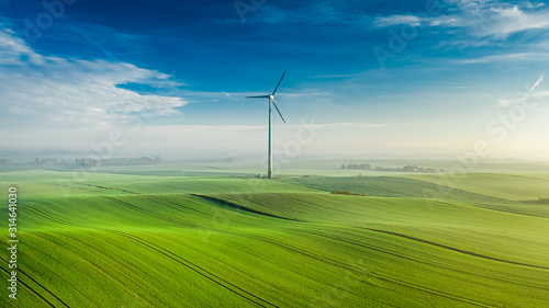 Obraz Wind turbine on green field at sunrise, view from above - fototapety do salonu