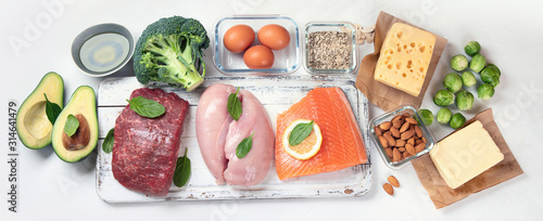 Photo Healthy low carbs food.. Ketogenic diet concept.