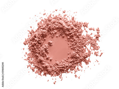 Fototapeta Blush makeup powder circle swatch. Face powder texture. Pink color beauty product sample isolated on white background obraz