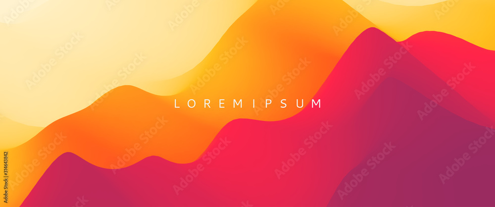 Fototapeta Desert dunes sunset landscape. Mountain landscape with a dawn. Mountainous terrain. Hills silhouette. Abstract background. Vector illustration.