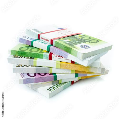 Carta da parati Euro banknotes stacks on a white background.