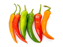 Red, Green Chilli Peppers Isol...