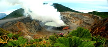 Panoramic View Of The Impressive Poas Volcano Crater In Costa Rica