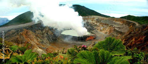 Panoramic view of the impressive Poas volcano crater in Costa Rica Canvas Print