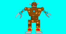 Brown Robot With Claws Looking Like A Man, Starts To Take Off