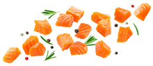 Falling Salmon Slices Isolated...