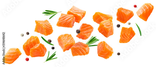 Fotografia Falling salmon slices isolated on white background