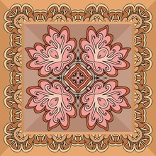 Beautiful Napkin Or Doily With Abstract Ornament In Ethnic Style. Design For Home Textile.
