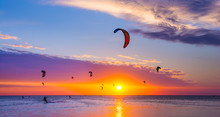 Kite-surfing Against A Beautif...