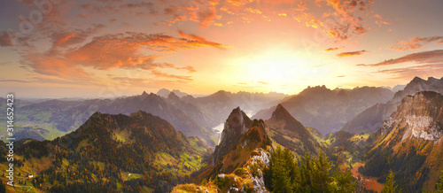 Obraz Autumn mountains before sunrise in Switzerland - fototapety do salonu