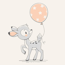 Vector Hand Drawn Illustration Of A Cute Baby Deer With A Balloon.