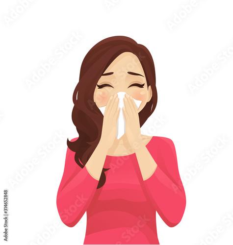 Sad beautiful woman blowing nose into tissue, sneezing Fototapete